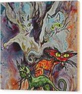 Demon Cats Haunted Wood Print