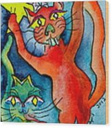 Demon Cats Reach Wood Print
