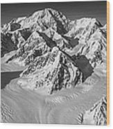 Denali And The Kahiltna Glacier Black And White Wood Print