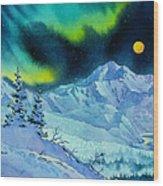 Denali Night In Square Wood Print