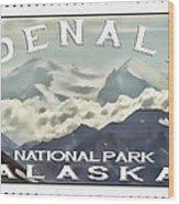 Denali Postage Stamp  Wood Print