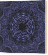 Denim Blues Mandala - Digital Painting Effect Wood Print