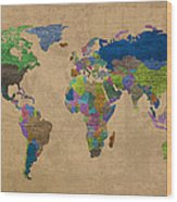 Denim Map Of The World Jeans Texture On Worn Canvas Paper Wood Print