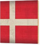 Denmark Flag Vintage Distressed Finish Wood Print by Design Turnpike