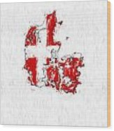 Denmark Painted Flag Map Wood Print