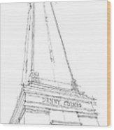 Denny Chimes Sketch Wood Print