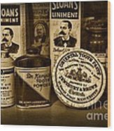 Dentist  -  Tooth Powder And More In Black And White Wood Print