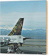 Denver Airport With Rockies In Background Wood Print