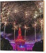 Denver Co 4th Of July Fireworks Wood Print by Teri Virbickis