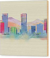 Denver Colorado Skyline I Wood Print