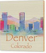 Denver Colorado Skyline II Wood Print