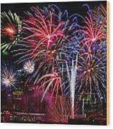 Denver Fireworks Finale Wood Print