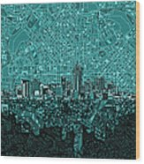 Denver Skyline Abstract 5 Wood Print