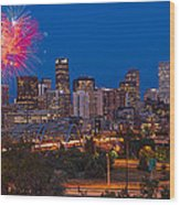 Denver Skyline Fireworks Wood Print