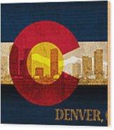 Denver Skyline Silhouette Of Colorado State Flag Canvas Wood Print