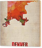 Denver Watercolor Map Wood Print by Naxart Studio