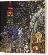 Denver's 16th Street Mall During Holidays Wood Print