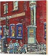Depanneur Centre Pointe St Charles Montreal Verdun Paintings Hockey Art City Scenes Cspandau Wood Print
