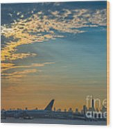 Departing From Ewr  Wood Print