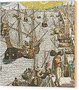 Departure From Lisbon For Brazil Wood Print by Theodore de Bry