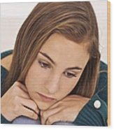 Depressed Teenage Girl Wood Print by Science Photo Library
