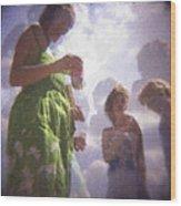 Derby People 1 Pastel Chalk 2 Wood Print