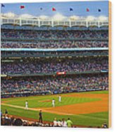 Derek Jeter Leads The Way As The Yankees Take The Field Wood Print