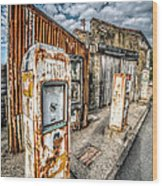 Derelict Gas Station Wood Print