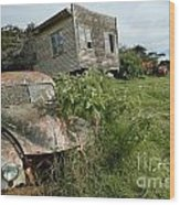 Derelict Morris And Old Truck On An Abandoned Farm Wood Print