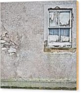 Derelict Window Wood Print