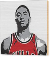 Derrick Rose Wood Print by Mike Maher