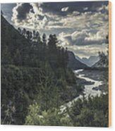 Desaturated Mountainscape Wood Print