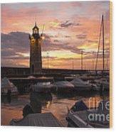 Desenzano Del Garda Marina Old Lighthouse Sunrise Wood Print