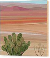 Desert, Cactus Brush, Mountains In Wood Print