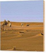 Desert Camels Wood Print