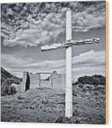 Desert Cross Wood Print