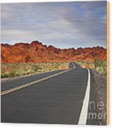Desert Highway Wood Print