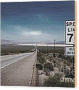 Desert Highway Road Sign Wood Print
