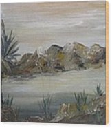 Desert In Monachrome Wood Print