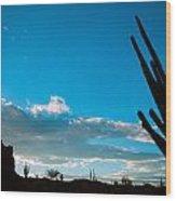 Desert Landscape Silhouette Wood Print