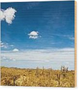 Desert Landscape With Deep Blue Sky Wood Print
