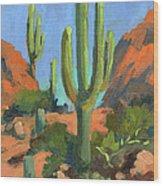 Desert Morning Saguaro Wood Print