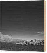 Desert Mountains Black And White Landscape Wood Print