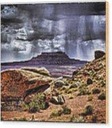 Desert Rain Wood Print by David Neely