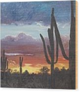 Desert Silhouette Wood Print