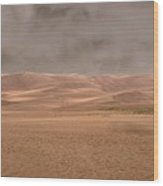 Great Sand Dunes Approaching Storm Wood Print