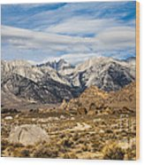 Desert View Of Majestic Mount Whitney Mountain Peaks With Clouds Wood Print
