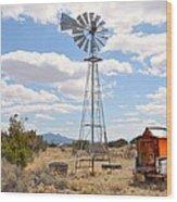 Desert Windmill Wood Print