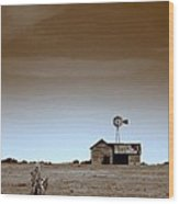 Deserted Farmhouse Wood Print