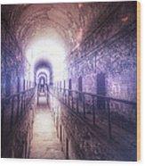 Deserted Prison Hallway Wood Print